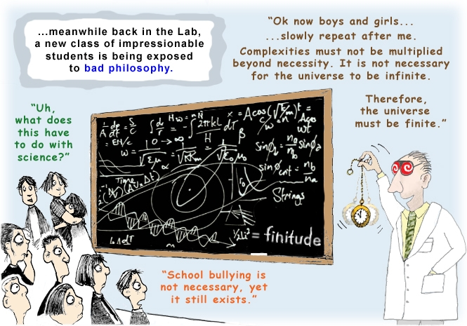 Colour cartoon with a scientist and students discussing the concept of a finite universe.