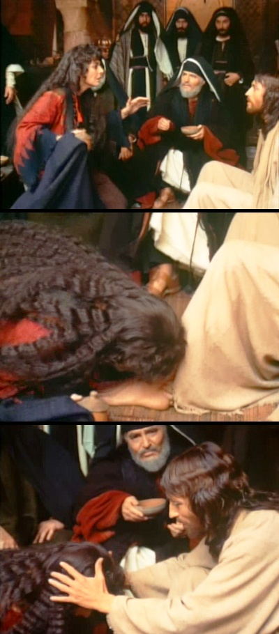 Luke 7 snapshots from the movie Jesus of Nazareth. Sinful woman kissing the feet of Jesus