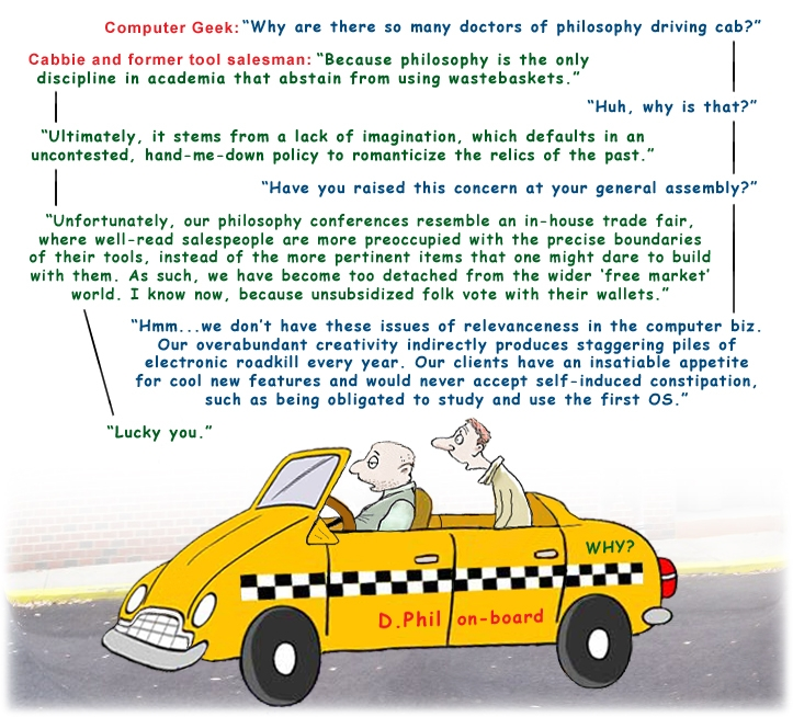 Colour cartoon with a cabbie and computer geek discussing the relevanceness of academia.