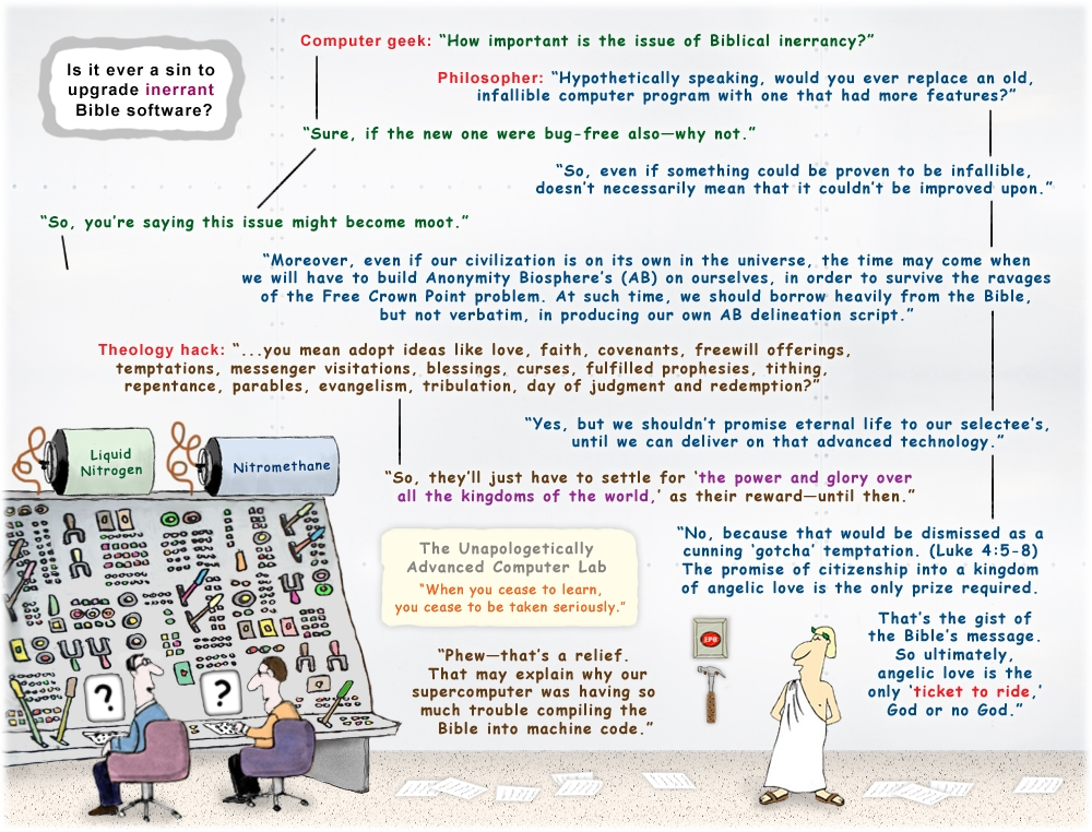 Colour cartoon on Biblical inerrancy and upgrading infallible software.