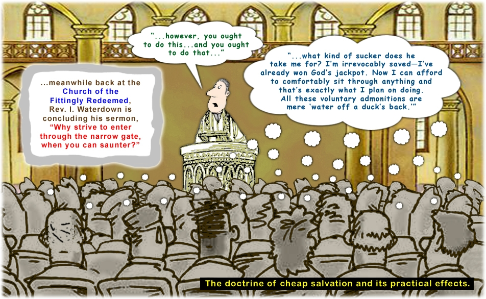 Colour cartoon with a preacher demonstrating lukewarm Christianity.
