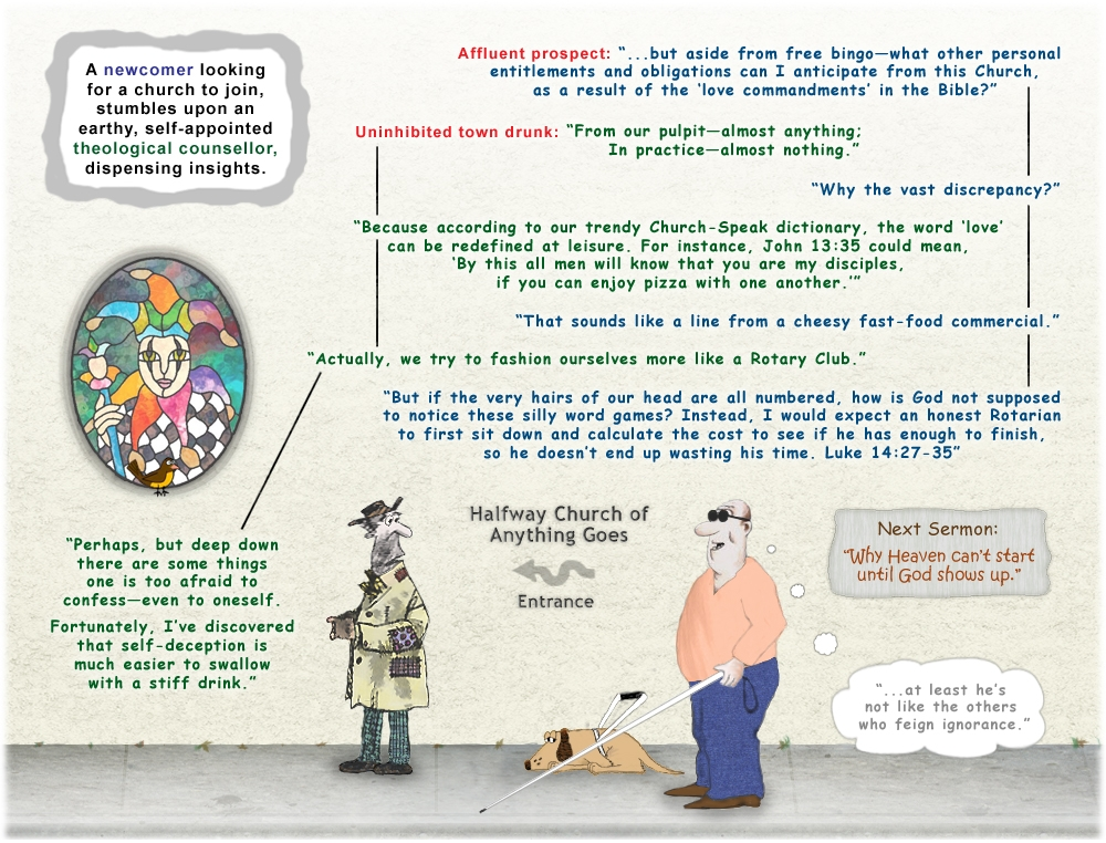 Colour cartoon about the love commandments in the Bible and the worldly church.