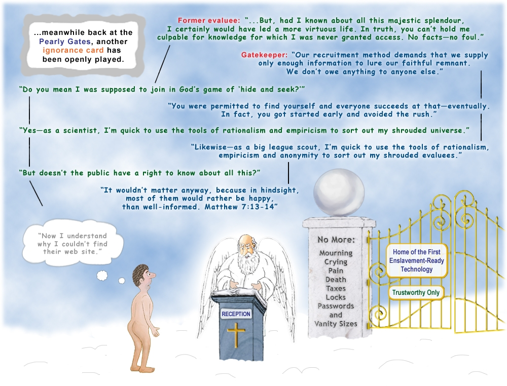 Colour cartoon about playing the ignorance card at the Pearly Gates.