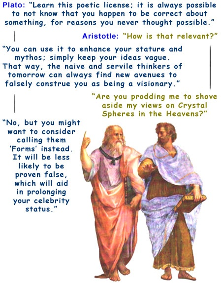 Colour cartoon with Plato and Aristotle.