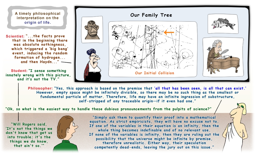 Colour cartoon with a philosopher and student discussing the origin of life.