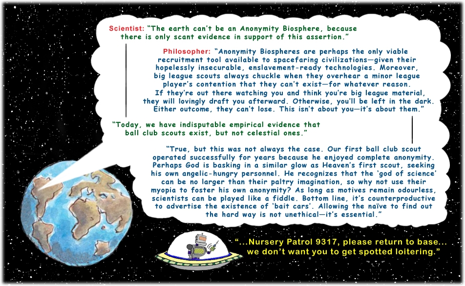 Colour cartoon with a philosopher and scientist discussing the earth as a possible Anonymity Biosphere with deeper detail.
