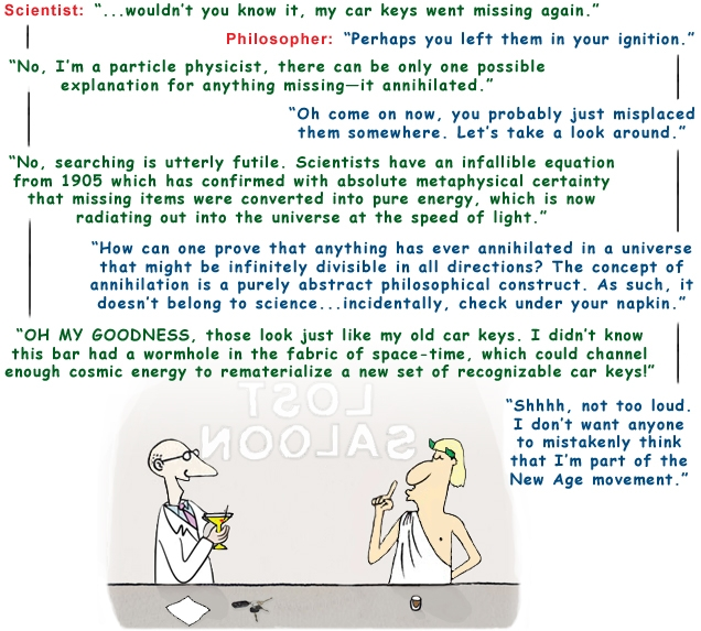 Colour cartoon with a scientist and philosopher discussing the annihilation of matter and special relativity in a bar.