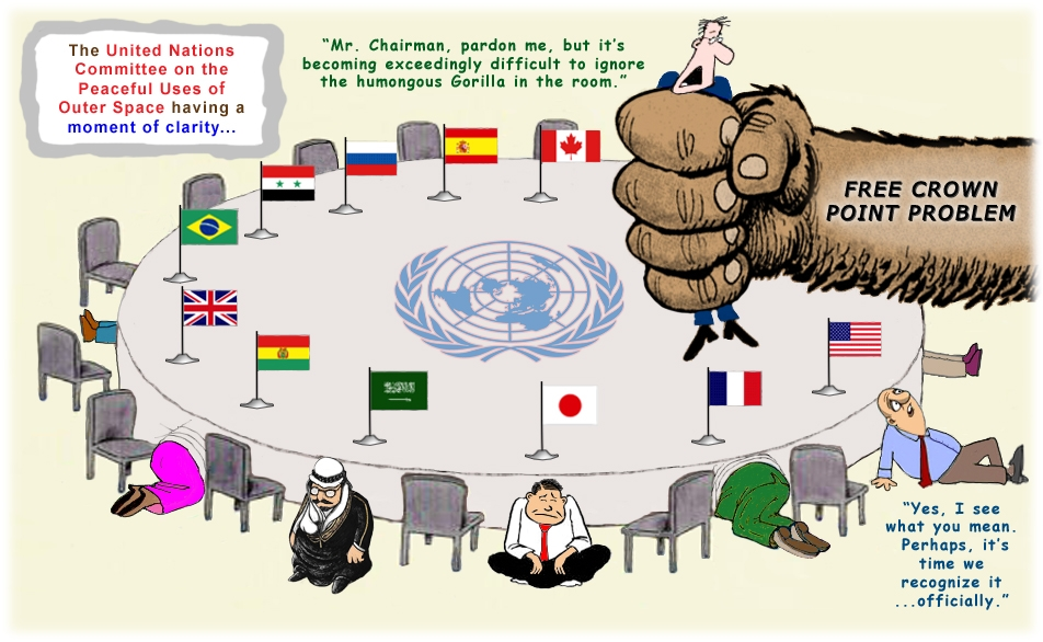 Colour cartoon of the United Nations Committee on the Peaceful uses of Outer Space or COPUOS.